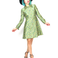 70s Floral Long Sleeve Dress Daisy Print Collared Pleated Button Up Mini Party Dress Hippie Lime Green Flower Power Dress (XS)