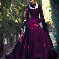 barroque gothic dress gown in dark red marie antoniette