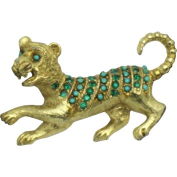 VENDOME Textured Gold Plated Emerald Rhinestone Faux Turquoise  Beaded  Figural Tiger Brooch Pin