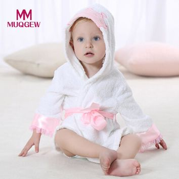 High quality winter Baby Bathrobe Cartoon Hooded Towel Pajamas