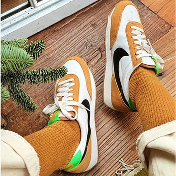 """Nike Air Daybreak SP """"Cool Grey"""" OG Daybreak Series Waffle Retro Casual Sports Jogging Shoes White&Yellow"""