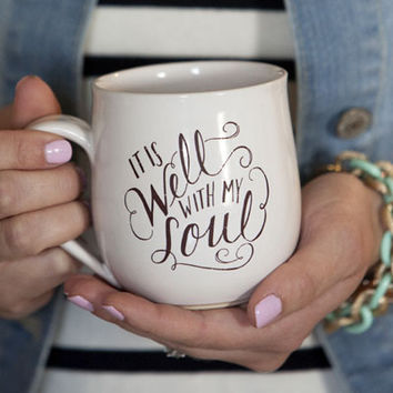 """It Is Well With My Soul"" Handmade Pottery Mug"