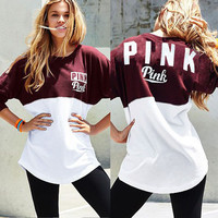 """Pink"" Victoria's Secret Multicolor Letter Print  Top Blouse"