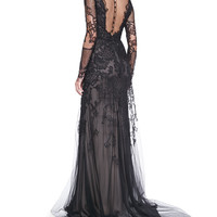 Monique Lhuillier Long-Sleeve Embroidered Lace Gown
