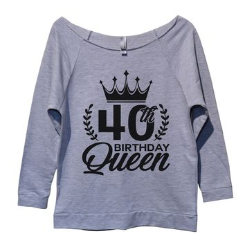 40th birthday Queen Womens 3/4 Long Sleeve Vintage Raw Edge Shirt