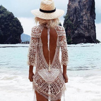 Hollow Out Crochet Lace Long Sleeve Dress