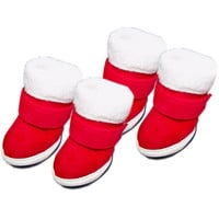 Pet Sneakers Dog Shoes Christmas Thermal Boots Cotton Padded - Size 3