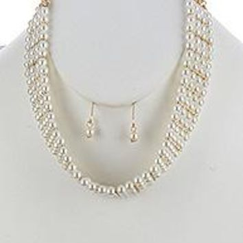 beautiful Simplistic LAYERED PEARL CHOKER  NECKLACE AND EARRING SET