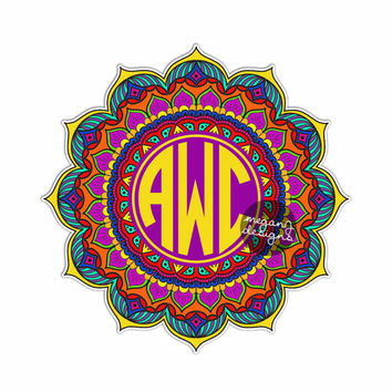 Custom Mandala Monogram Sticker - Colorful Car Decal Vinyl Bumper Sticker Initials Symbol Yoga Car Decal Yantra Cosmos Universe Wall Art