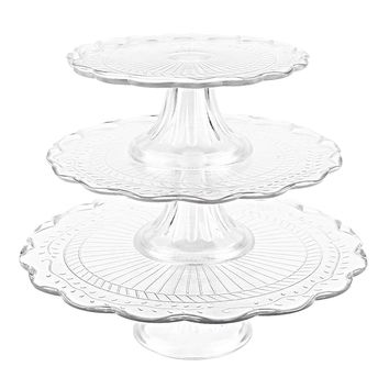 Set of 3 Stackable Glass Cupcake Dessert Footed Platters, Cake Stand Display Server