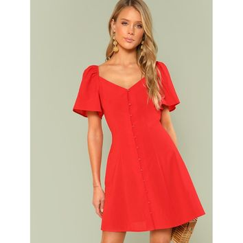 Red Bishop Sleeve Button Up Dress