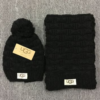 """Gucci"" Fashion Casual Trending Women Winter Knit Warmer Hat Cap Scarf Set Black G"