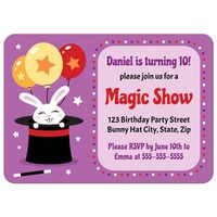 Rabbit in magicians hat, magic show birthday party invitation for kids