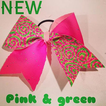 Pink and Green Tic  Toc Cheer Bow by BowsBeforeBrosBuy on Etsy
