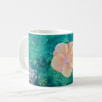 Hibiscus on turquoise water mug