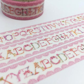 Alphabet tape 5M English Alphabet washi tape ABC learning deco sticker english character decor japanese masking tape removable adhesive tape