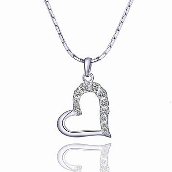 White Gold Plated Half Heart Shaped Crystal Covering Necklace
