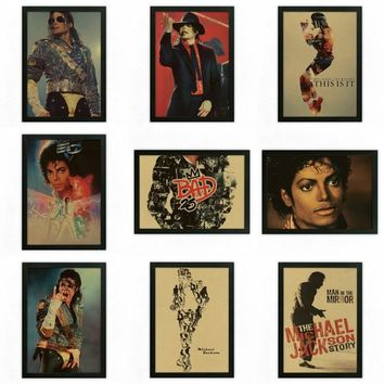 Michael Jackson Vintage Retro rock band music Guitar Poster Wall Sticker Home Decor art