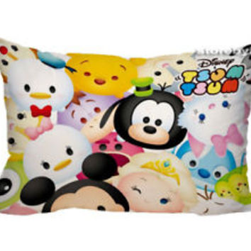 "Best Disney Tsum Tsum Zippered Pillow Case 16""x 24"" - 2 sides Cushion Cover"