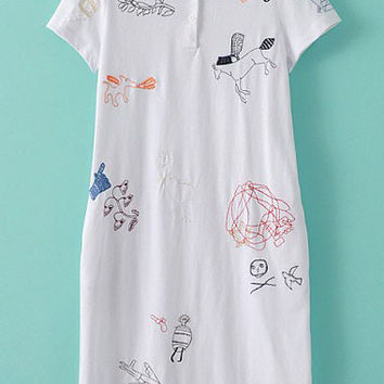 White Cartoon Embroidered Shirt Collar Short Sleeve Shift Mini Dress