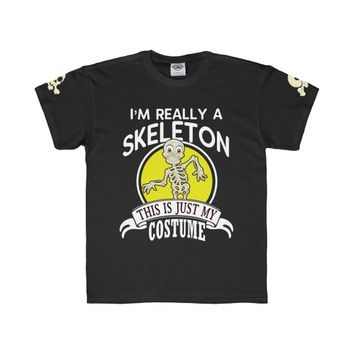 Kids Skeleton Halloween Costume T-shirt Youth Regular Fit Tee I'm Really A Skeleton This Is Just My Costume Shirt