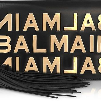 Balmain Black Leather Clutch w/Metallic Logo and Tassels