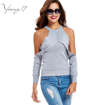 Young17  2016 sweater off the shoulder white warm autumn solid sexy slim women sweater tank designer sweater woman open shoulder