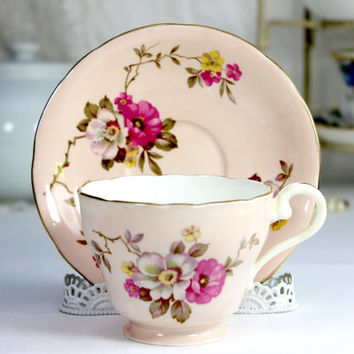 DAMAGED 1930s Aynsley Yellow Teacup, Tea Cup and Saucer, Floral Set 12438