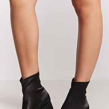 Satin Block-Heel Ankle Boots
