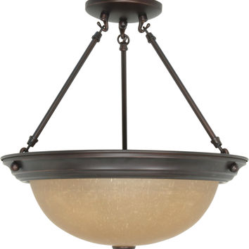 Large Dome Semi Flush Ceiling Light Fixture
