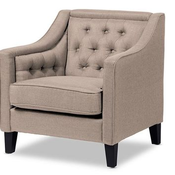 Baxton Studio Vienna Classic Retro Modern Contemporary Beige Fabric Upholstered Button-tufted Armchair Set of 1