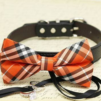 Orange Plaid Dog Bow Tie Collar, ring bearer, Pet Wedding, Black Ribbon, Proposal