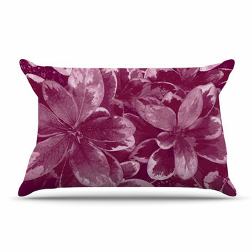 "Julia Grifol ""Warm Leaves"" Red Digital Pillow Case"