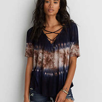 AEO Soft & Sexy Lace-Up Top, Black
