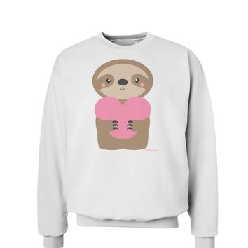 Cute Valentine Sloth Holding Heart Sweatshirt by TooLoud