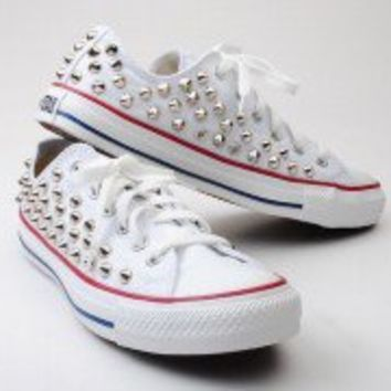 Custom made Genuine White Low Converse Silver Spike Stud Punk Fashion Sneakers