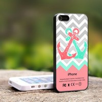Chevron Anchor Pink And Mint - For iPhone 5 Black Case Cover