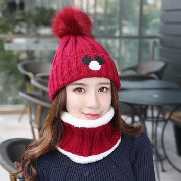 Thickened in winter Hair ball 2 piece suit Winter Hats Pompom Knitted Hat Girl Beautiful Pink Girls Beanies Autumn Caps