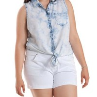Plus Size Knotted Acid Wash Chambray Shirt