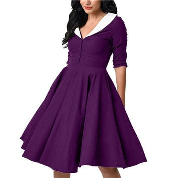 Fashion Retro Button Patchwork Dress Hepburn Style Lady Dress 1950s 60s Vintage Lapel Half-Sleeves Rockabilly Big Swing Dresses