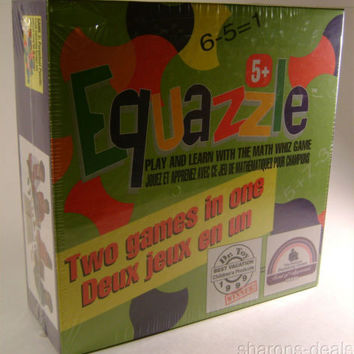 Equazzle Math Whiz Board Game 2 in 1 2-4 Player Perpetual Puzzle Educational