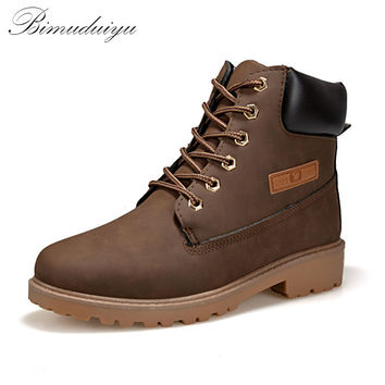 Trendy Cool Style Men's Ankle Thick Snow Boots Leather High Cut Male Casual Riding Hiking Shoes