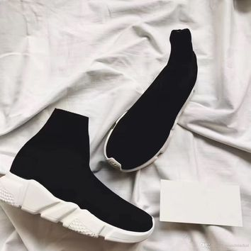 Balenciaga Double Box Speed Trainer Boots Socks Stretch-Knit High Top Trainer Shoes Cheap Sneaker Black White Woman Man Couples Shoes Casual Boots