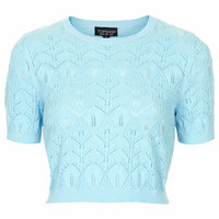 Knitted Lace Stitch Crop Top