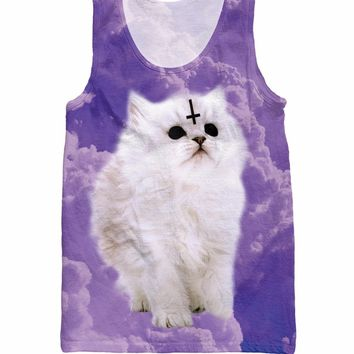 RuiYi Satan Cat Tank Top sadistic cat with cross on forehead 3d print Casual tee Tops Fashion Clthong  Vest For Women Men