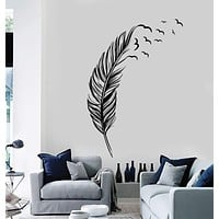 Vinyl Wall Decal Feather Birds Bedroom Home Decoration Stickers Mural Unique Gift (ig3639)