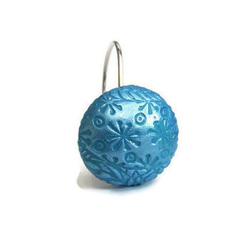 Turquoise Shower Curtain Hooks, Shower Curtain Rings, Turquoise Bathroom Accessories, Hooks for Shower Curtains
