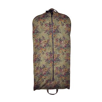 Modern Garment Bag - Olive Green with Victorian Flowers