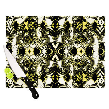 "Dawid Roc ""The Palace Walls II"" Yellow Black Cutting Board"