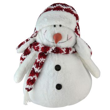 "11"" ""Let it Snow"" Arctic White and Candy Apple Red Decorative Snowman Figurine"